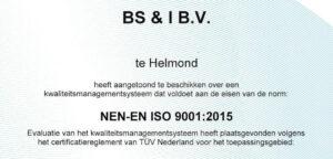 BS&i Mechatronics ISO 9001 certificaat