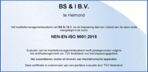 BS&i Mechatronics Certificaat ISO 9001